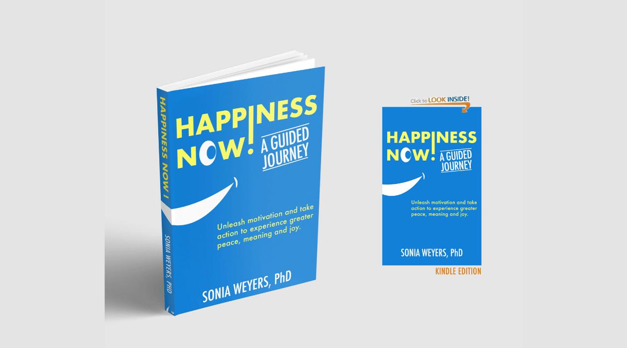 """Le livre """"Happiness Now! A Guided Journey"""" en version brochée et numérique."""