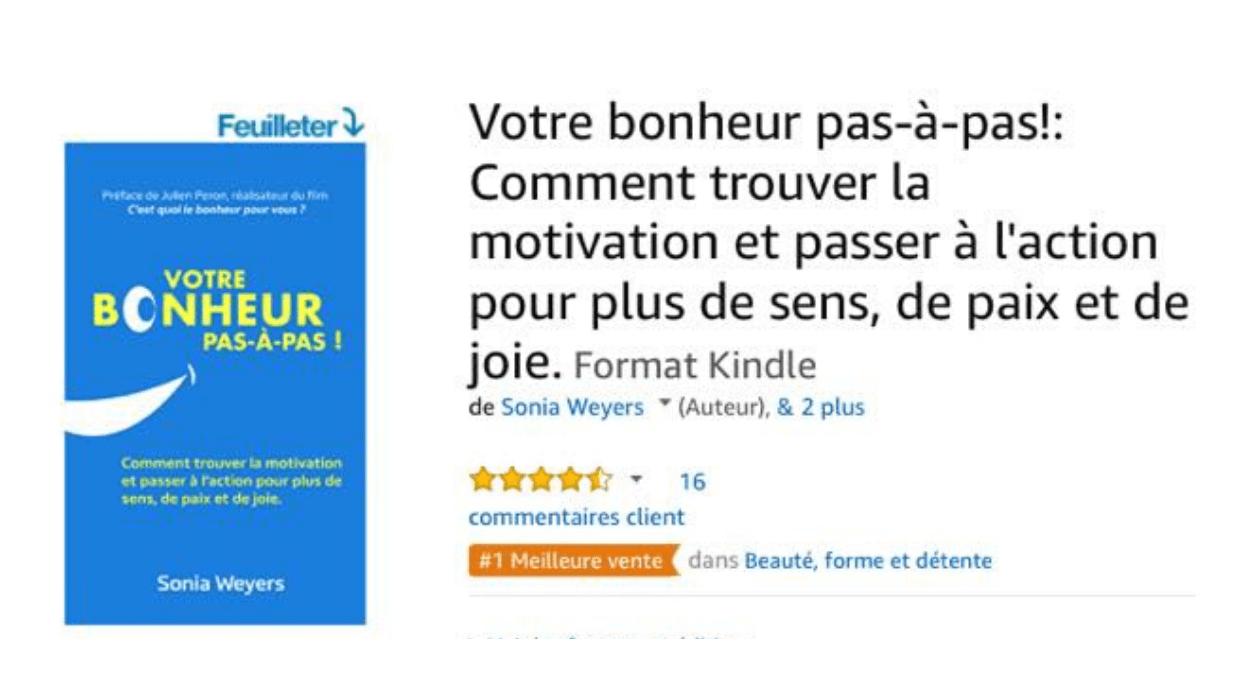 """Couverture """"Votre Bonheur Pas-à-Pas"""" version Kindle sur amazon."""