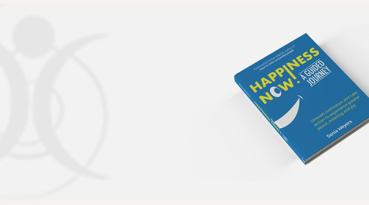 """Couverture du livre en anglais """"Happiness Now! A Guided Journey"""""""