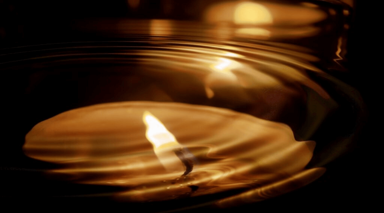 Candle with reflection.