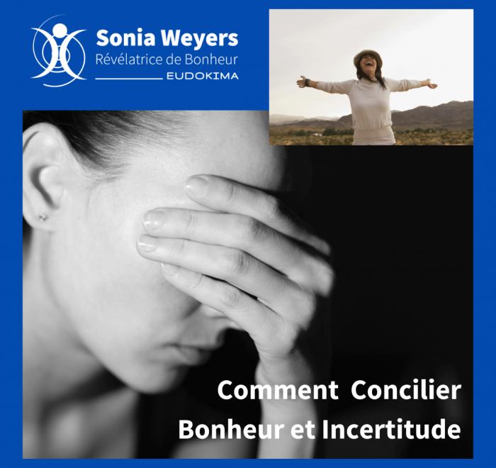 """Femme inquiète et femme heureuse, conférence """"Comment Concilier Bonheur et Incertitude."""""""