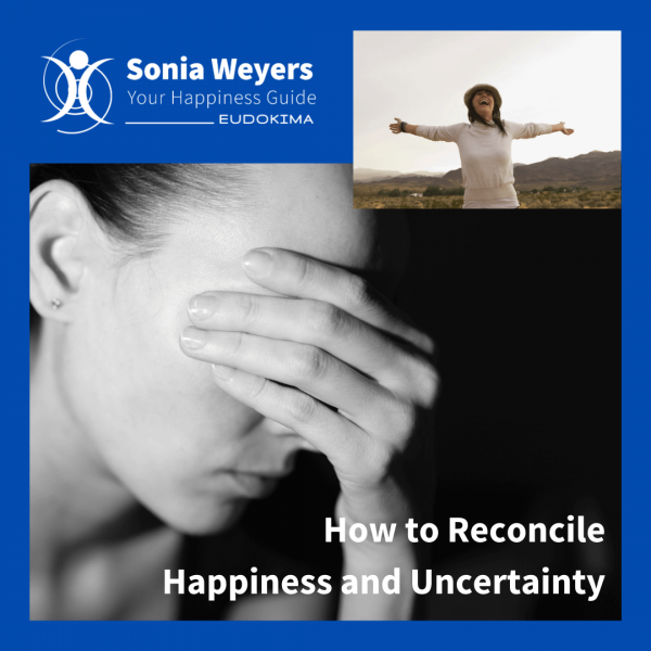 "Worried woman and happy woman. Talk ""How to Reconcile Happiness and Uncertainty."