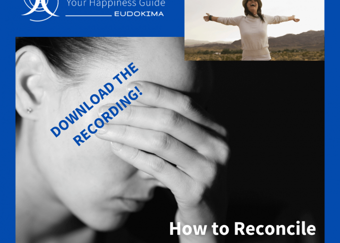 "Worried woman and happy woman. Talk ""How to Reconcile Happiness and Uncertainty. Download of Talk"