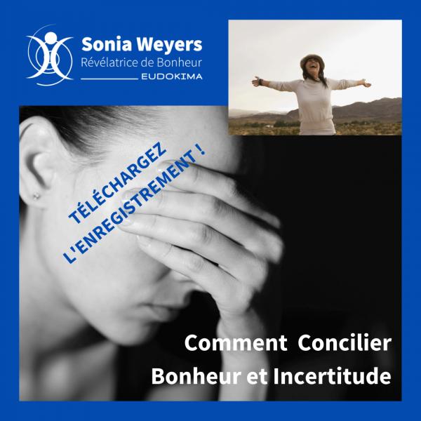 """Femme inquiète et femme heureuse, conférence """"Comment Concilier Bonheur et Incertitude."""" Téléchargement de la Conférence"""