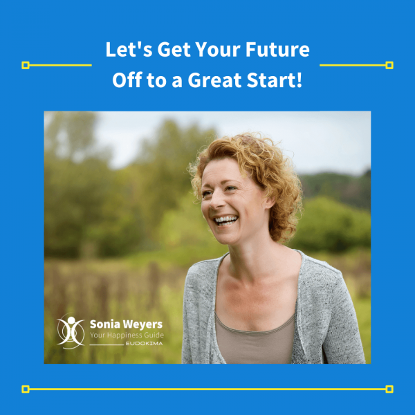 Let's get your future off to a great start.!Smiling woman in nature. Blue background, yellow lines, which writing.